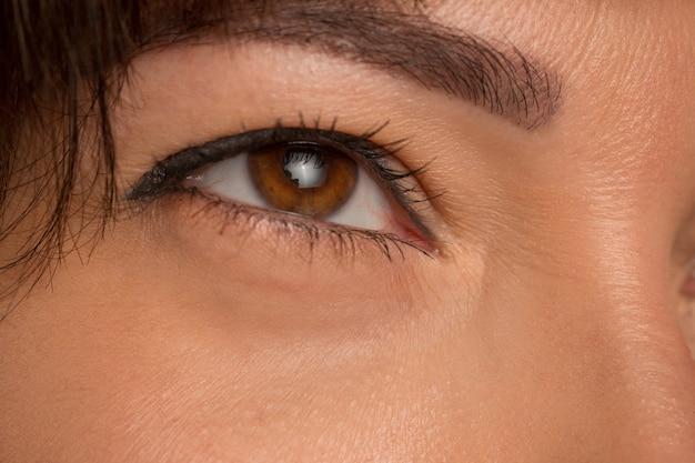 若い美しい白人の女の子の顔に茶色の目をクローズアップ 無料写真