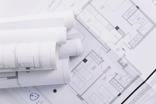 Close-up building plans Free Photo