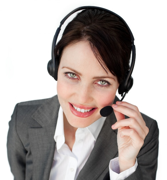 Close-up of a businesswoman talking on a headset Premium Photo