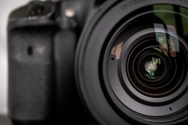 Close up of the camera lens. Premium Photo