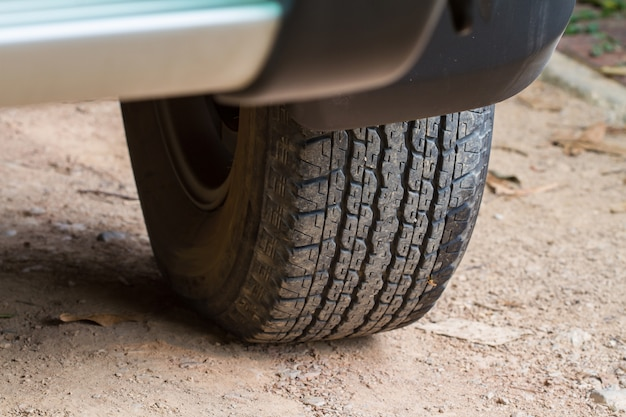 Close up car wheel on a car 4 wd Premium Photo