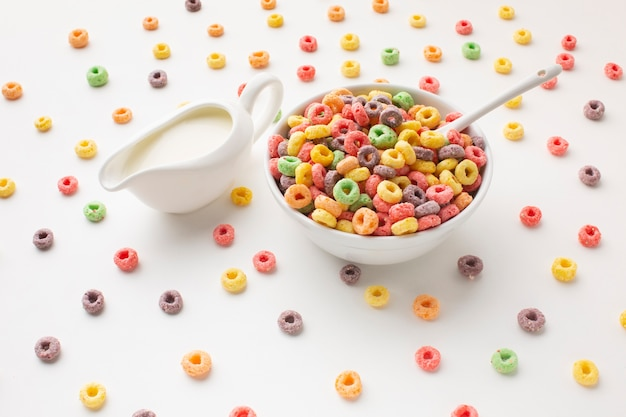 Close-up cereal bowl with milk Free Photo