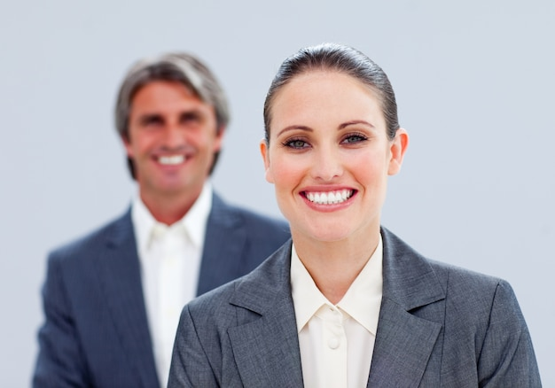 Close-up of a charismatic businesswoman and her colleague Premium Photo