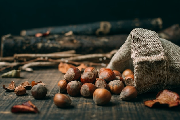 Close-up chestnuts in a bag Free Photo