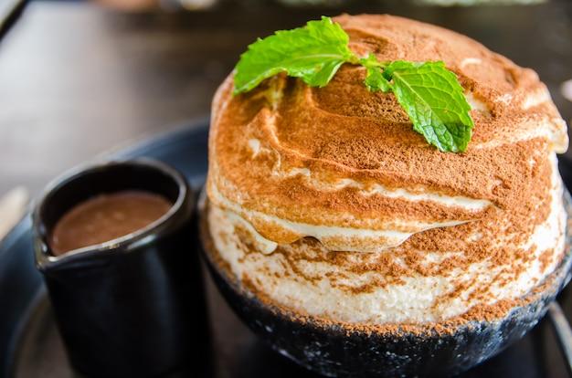 Close up of chocolate bingsu dessert Premium Photo