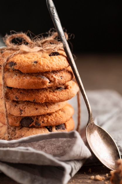 Close-up biscotti al cioccolato Foto Gratuite