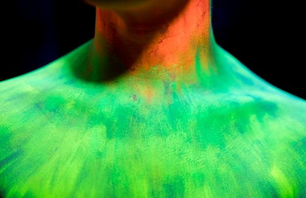 クローズアップカラフルな蛍光メイク 無料写真