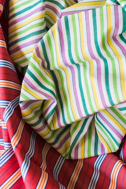 Close-up of colorful stripes pattern fabric material Free Photo