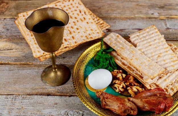 Close up of concept jewish holiday passover matzot Premium Photo