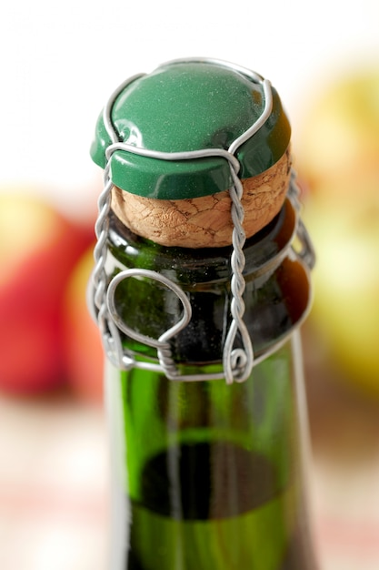 Close-up of the cork of cider bottle Premium Photo