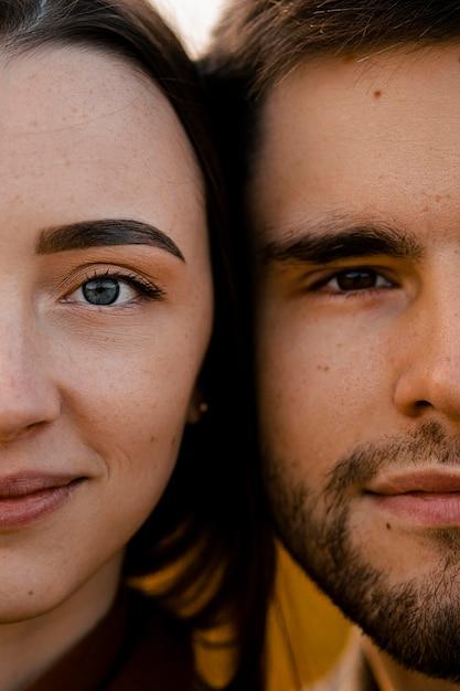 Close-up couple face details Free Photo