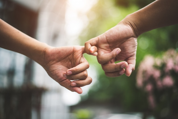 Close up couple holding pinkies fingers in park as swear and promise gesture in wedding ce Premium Photo