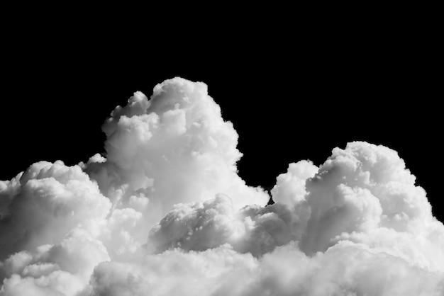 Close-up cumulus clouds isolated on black background, black