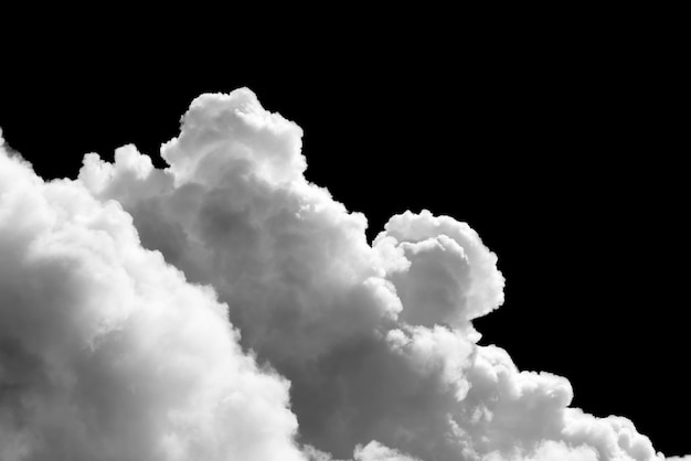 Close-up cumulus white clouds isolated on black background