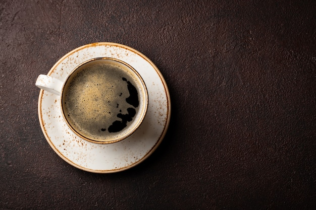 Close-up of a cup of black coffee. Premium Photo
