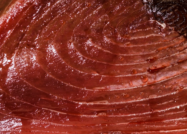Close-up of cut fish meat in market Free Photo