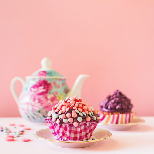 Close-up of decorative muffin on table top Free Photo