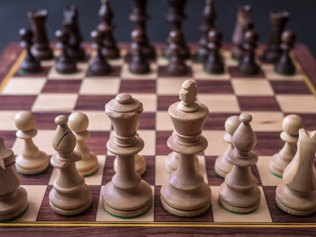 Close up default first position on chess board before the first move Premium Photo