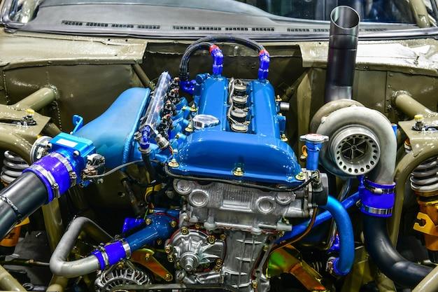 Close up details of car engine. modification of the engine Premium Photo