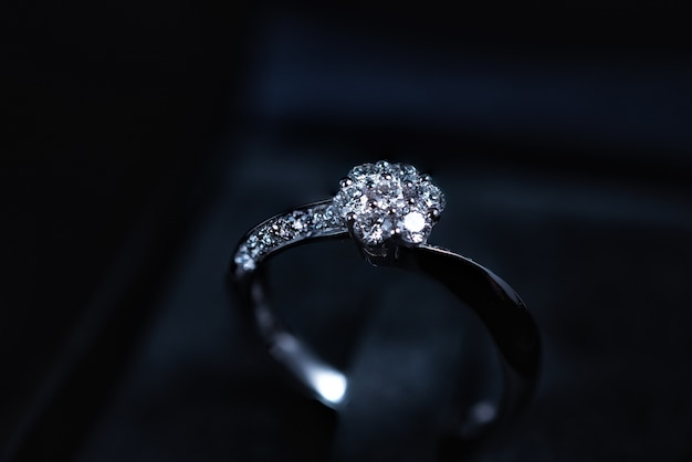 Close up of diamond ring on dark background Premium Photo