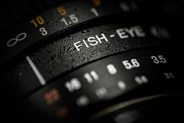 Close-up of dslr fishe-eye lens Free Photo
