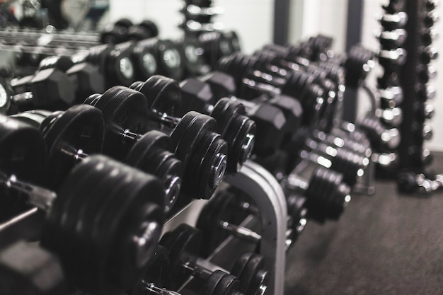 Close-up of dumbbells arranged in a row at fitness center