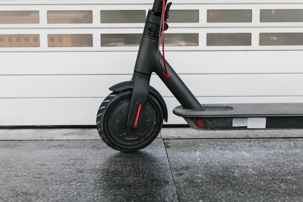Close up e-scooter front wheel Premium Photo