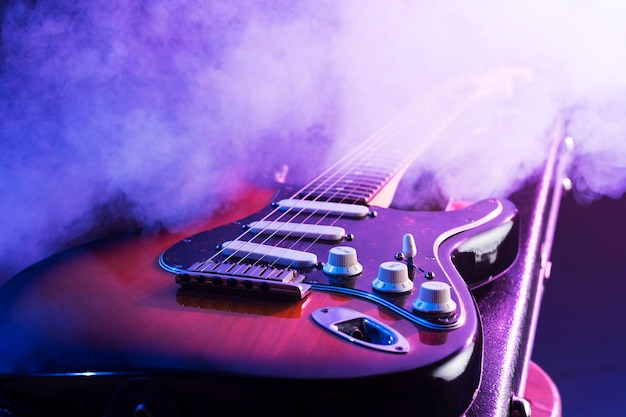 Close-up electrical guitar on stage Premium Photo