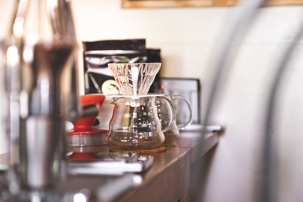 Close up empty  coffee filter  drip equipment with copy space Premium Photo