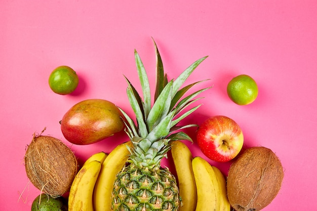 Close-up of exotic fruits on pink background Premium Photo