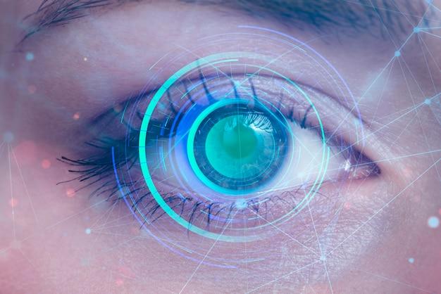 Close up eye scanning Free Photo