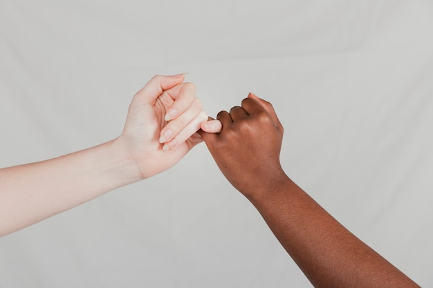 Close-up of fair and dark women hands making a pinkie promise against grey backdrop Free Photo