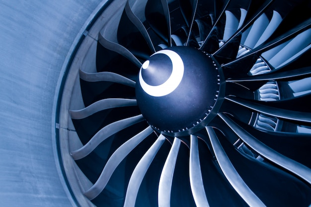 Close up of fan engine and turbine blades of modern civil passenger airplane Premium Photo