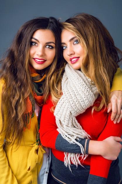 スタイリッシュなカジュアルな服と大きな暖かいスカーフを身に着けている流行の化粧品でエレガントなレースのファッションポートレートを閉じます。親友の姉妹の冬のファッションポートレート。 無料写真