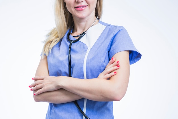 Close-up of a female dentist with crossed arms Free Photo