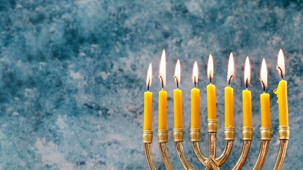 Close-up festive candleholder for hanukkah Free Photo