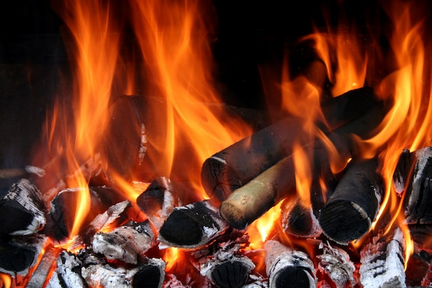 Close-up of fire flames Free Photo