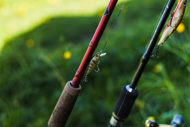 Close-up of fishing hook on fishing rod Free Photo