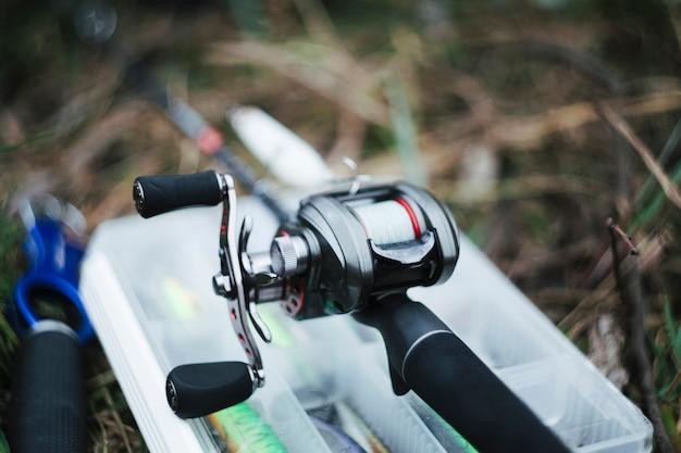 Close-up of fishing reel Free Photo