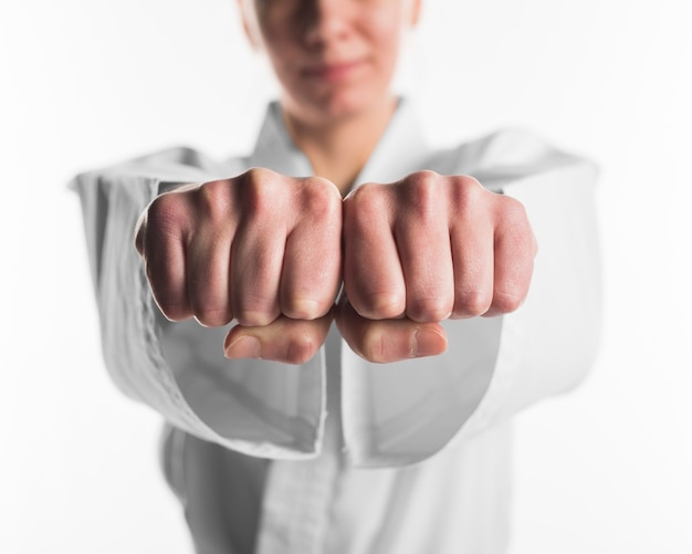 Close up fists of karate fighter Premium Photo