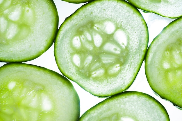 Close-up fresh cucumbers background Free Photo