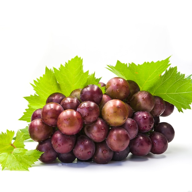 Close-up of fresh juicy grapes on white background Free Photo