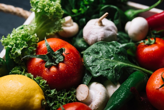 Close-up of fresh raw vegetables Free Photo