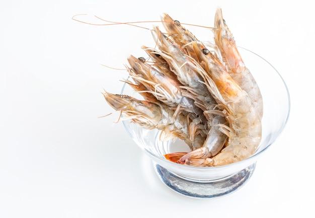 Close-up of fresh, raw and whole prawns. Premium Photo