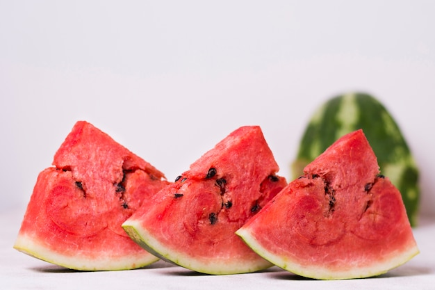 Close Up Fresh Watermelon Slices On The Table Free Photo