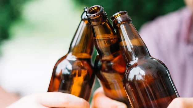 Close-up of friends clinking brown beer bottles Free Photo