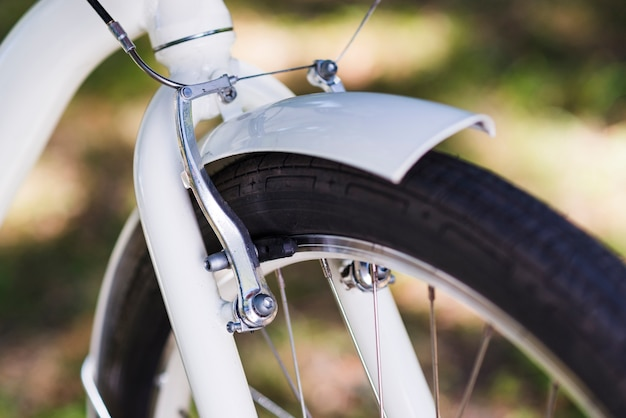 Close-up of front wheel of a bike Free Photo