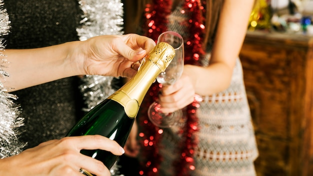 Close up of girls with champagne at new year party Free Photo