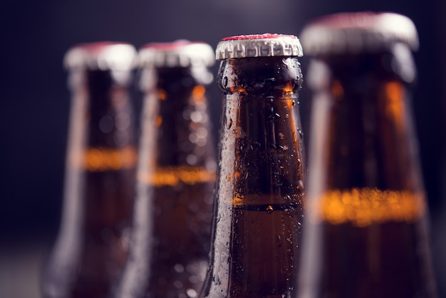 Close up glass bottles of beer with ice on dark background Free Photo