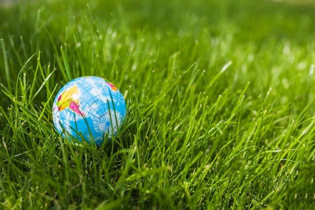 Close-up of globe ball on green grass Free Photo